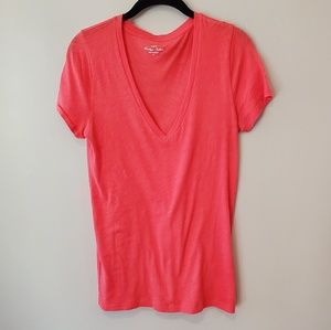 J. Crew Factory Tops - J Crew Factory coral v neck t shirt medium